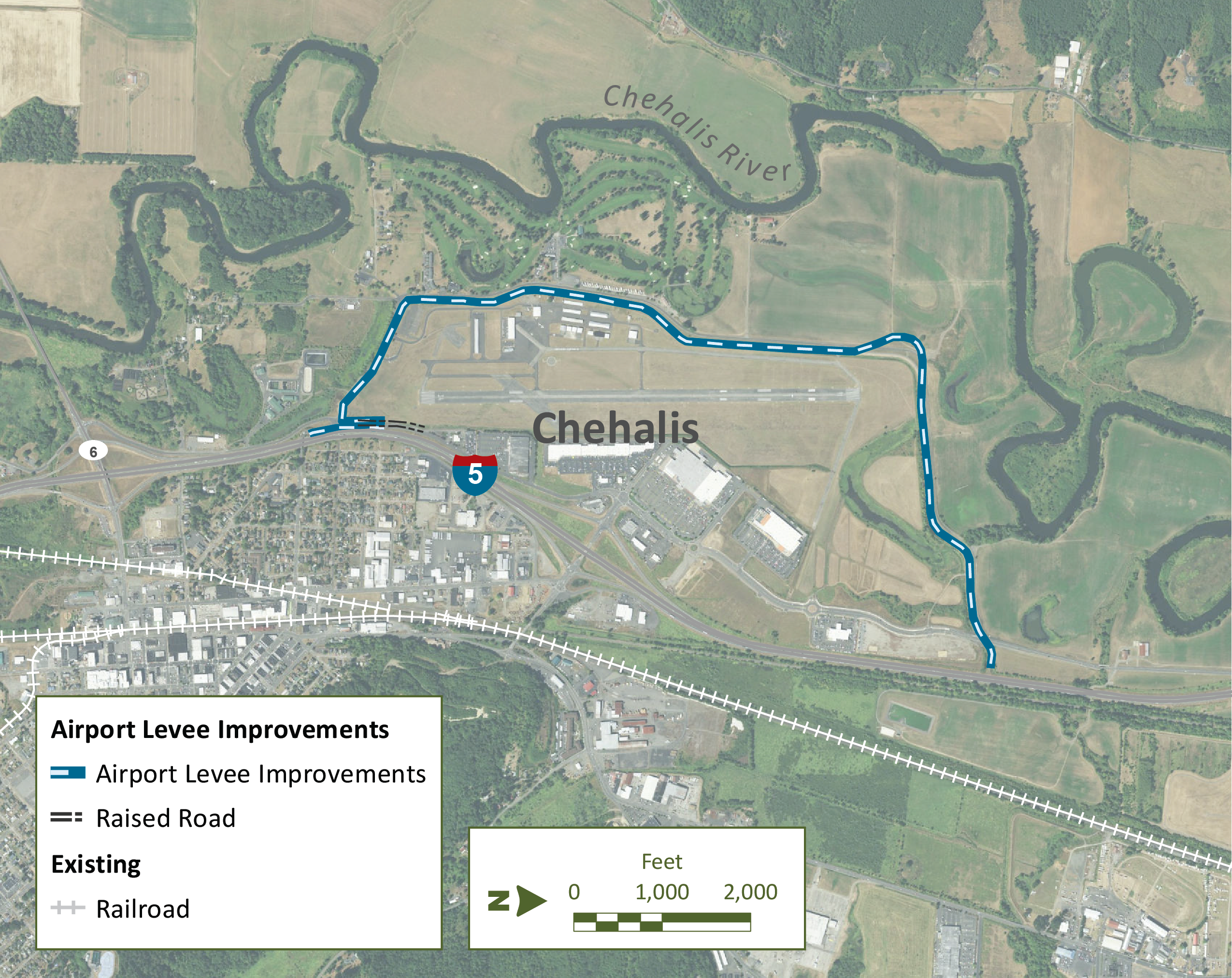 map of airport levee improvements